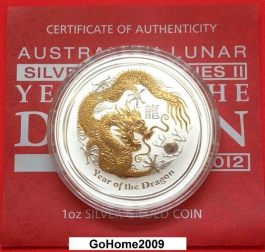2012 Australia Lunar *Gilded* Dragon 1oz .999 Fine