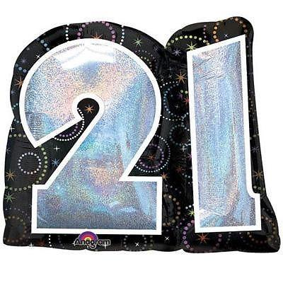 21st Birthday Number Balloon by Party Wholesale Centre