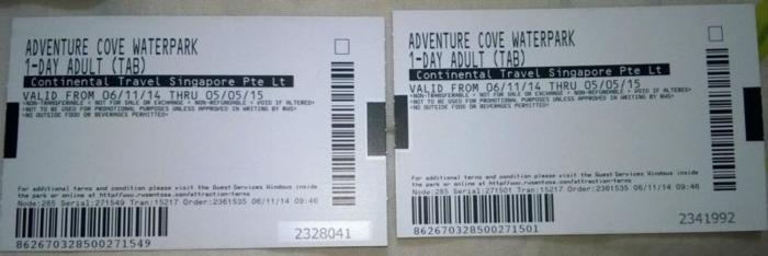 2 Adventure Cove Water Park (25$ each)