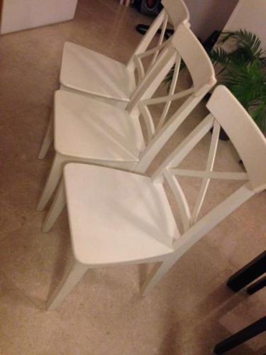 3 x White Ikea Used Chairs- in need of a new home.