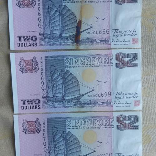 3pcs HTT $2 Ship Banknotes
