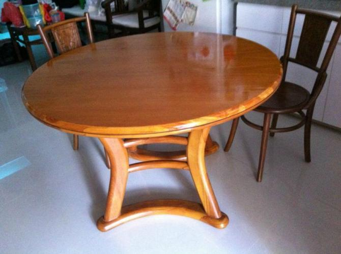 FT Diameter Round SCANTEAK Solid Teakwood Dining Table For Sale For - Solid teak dining table for sale