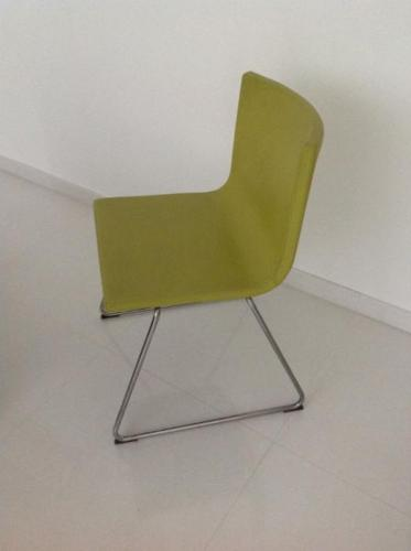 4x lime green leather chairs