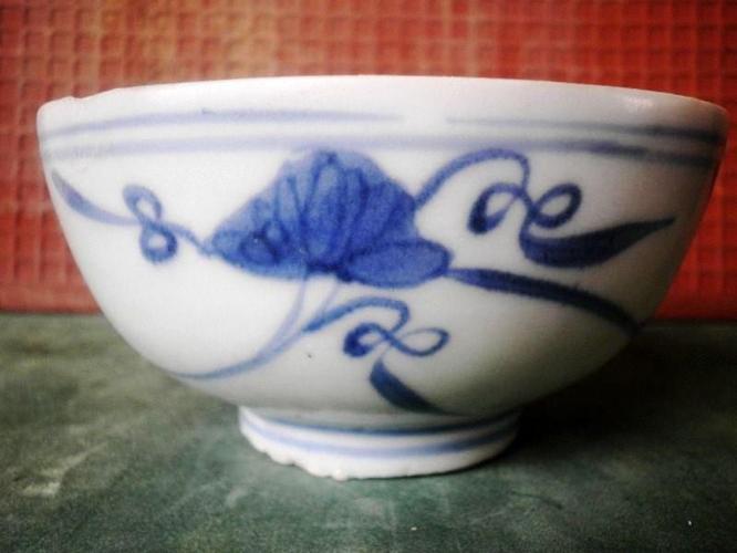 Antiques Qing Dehua blue & white lotus leaf bowl