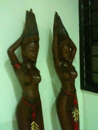 Balinese Teak Sculpture Pair of Native Ladies