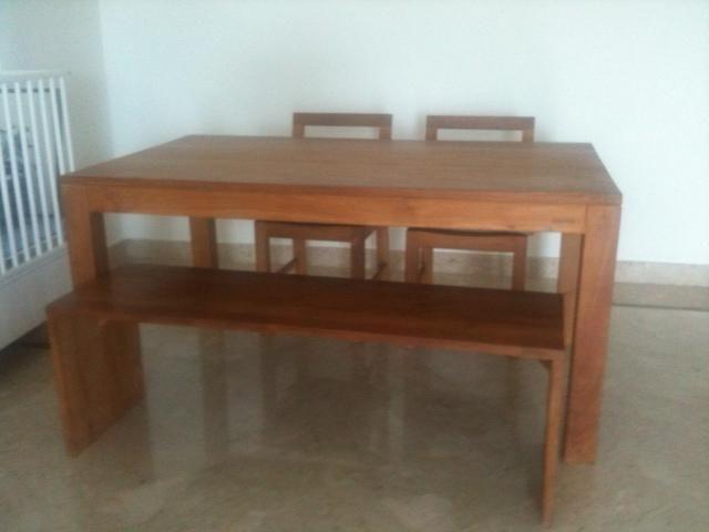 Beautiful Solid Teak Dining Table With 2 Chairs Bench For Sale In