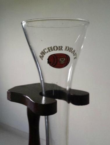 Beer Flute Glass with Wooden Stand- Anchor Draft