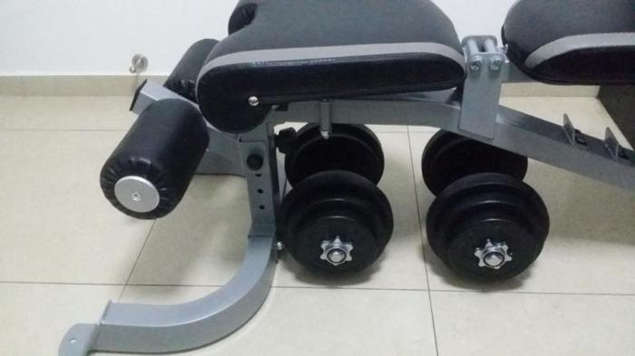Bench and dumbell.
