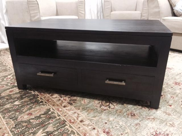 Black-brown Solid Wood Classic Coffee Table Drawer