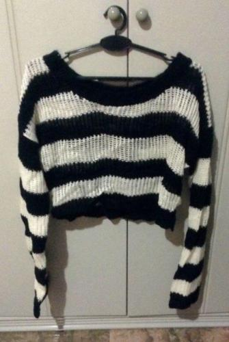 Black and White Striped Knit, Size M, Brand New