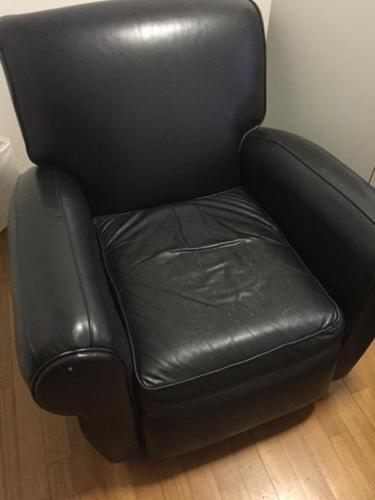 Black genuine leather reclining armchair- made in USA