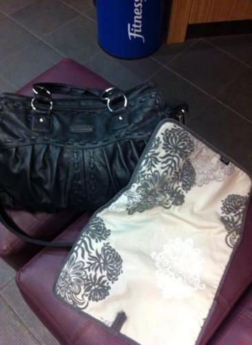 Black leather Diaper/nappy bag