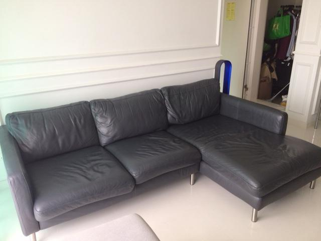 Black Leather L-shaped Sofa for sale - $500