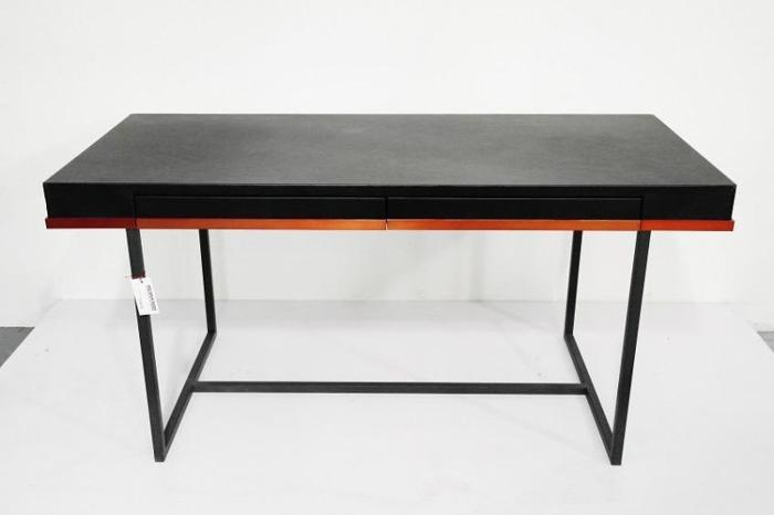 Black Leather Work Table with Drawers and Metal Stand
