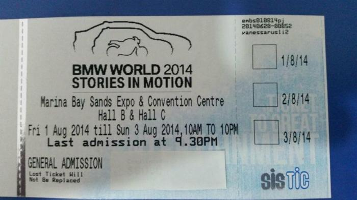 BMW WORLD MOTOR SHOW 2014 (3 DAYS PASS)
