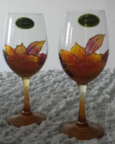 BRAND NEW*** 2 pieces Hand painted glassware