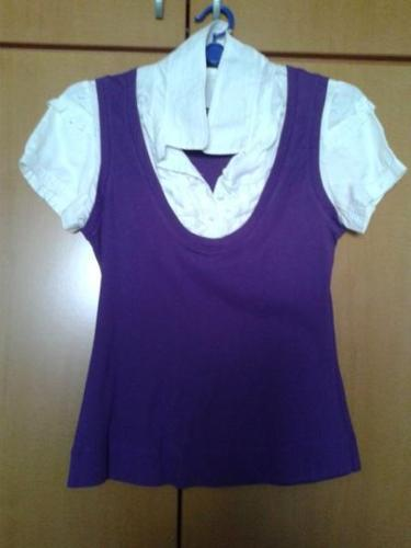 Brand New M Size Purple White Top With Free Belt