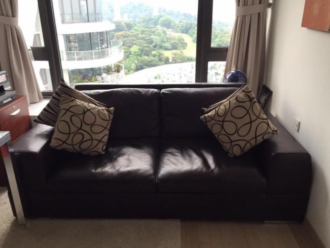 Brown Leather Sofa and converts into a bed