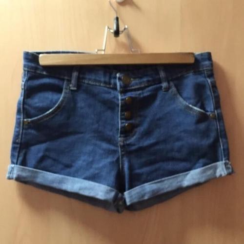 Button Denim High Waist Shorts