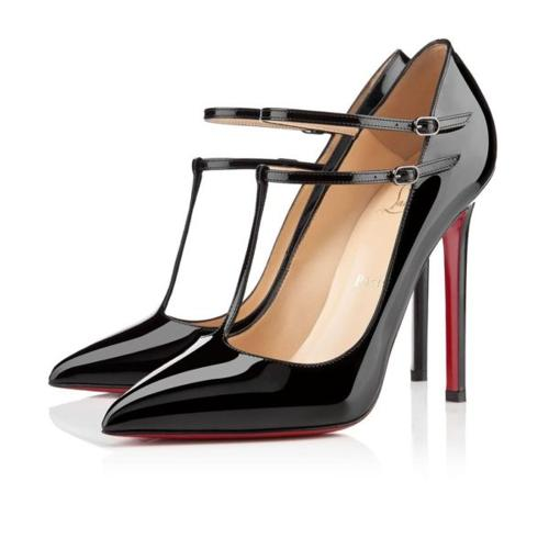 Christian Louboutin black v neck pumps