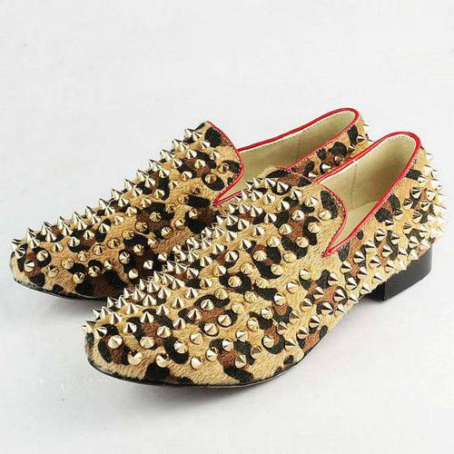 Christian Louboutin Men's Leopard Print Gold Spikes Dress Shoes in