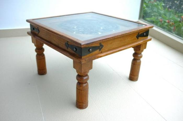 coffee table - wood with glass top