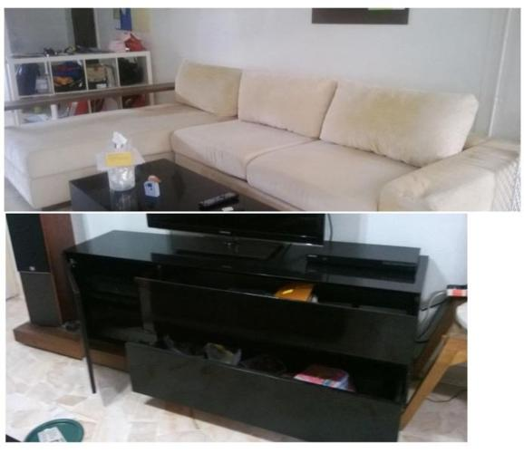 complete sofa + tv console + coffee table set