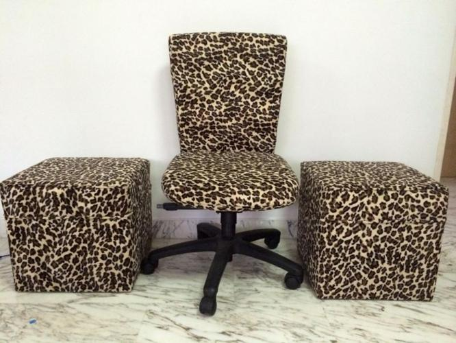 Custom Made Leopard Print Office Roller Chair