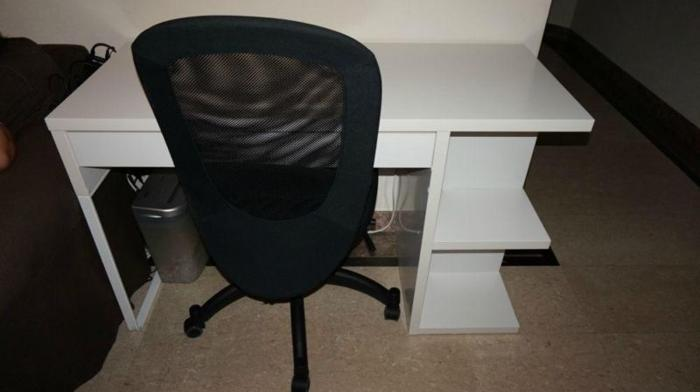 desk, swivel chair and floor protector