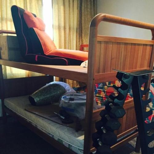 Double decker wooden bed with mattress, selling cheap!!