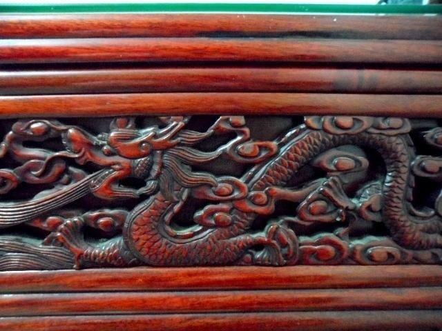 Double Side Dragon Carvings Rosewood Altar, 2 Drawers &