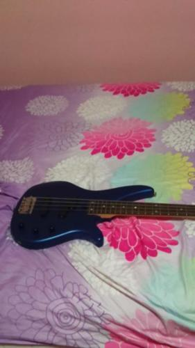 E'ectric bass guitar-blue in colour. it is in good
