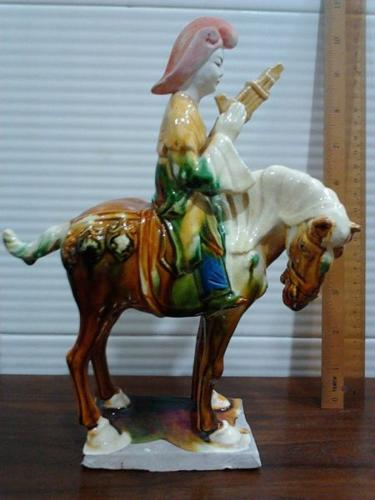 Elegant Chinese Lady on Horse Figurine in Ceramic