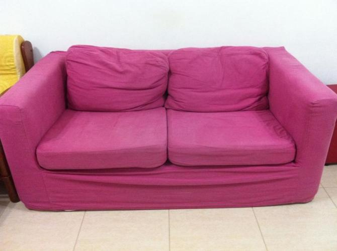 Fabric Two Seater Sofa (Pink washable cover)