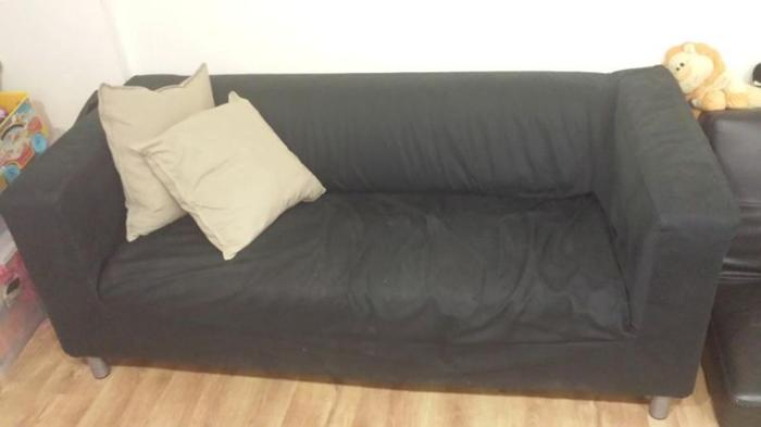 For sale: Used Klippan sofa with black fabric cover