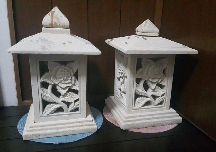 Garden Pond Walkway Light Stone Carving Lamp (Set of 2)