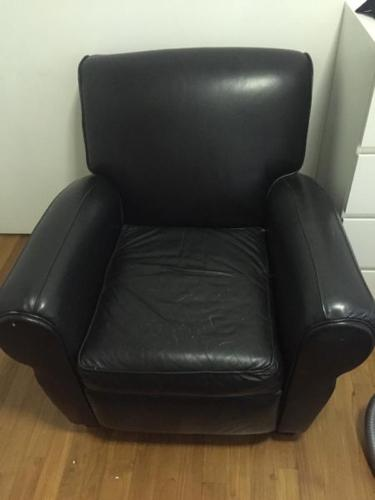 Genuine black leather reclining chair- super