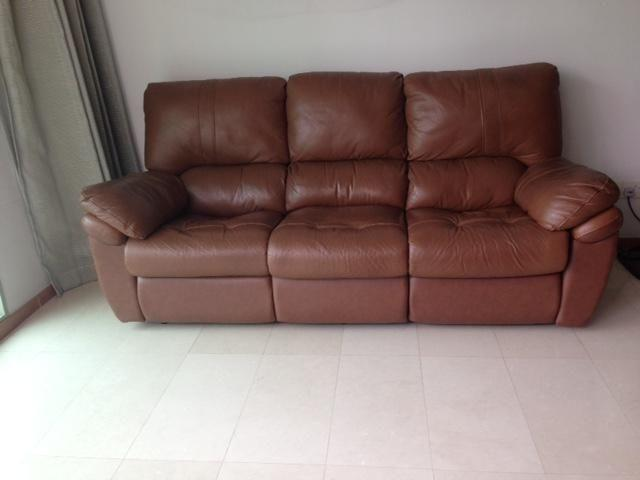 Genuine Leather 3 Seater Sofa with Recliner at SGD 99