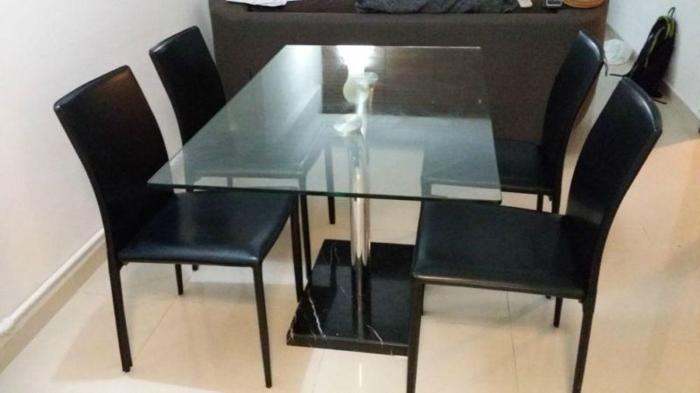 Glass Dining Table with Marble Base