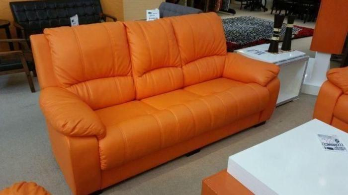 GREAT OFFER! like new orange leather 3 seater sofa !!!