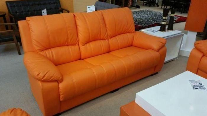 GREAT OFFER! like new orange leather sofa 3+2+1!