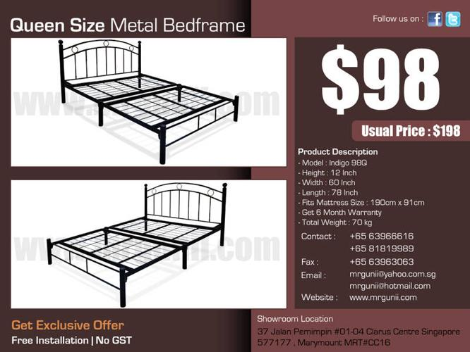 GREAT OFFER : QUEEN METAL BED-FRAME ONLY AT :$98,