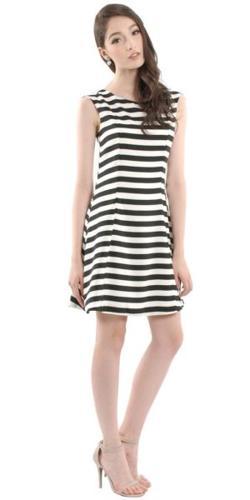 HER VELVET VASE Tuck & Fold Cruise Dress (Monochrome)