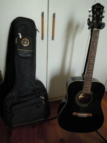 Ibanez Dreadnaught Accoustic Guitar Black Colour With Bag For Sale
