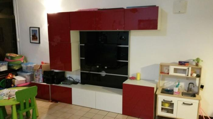 IKEA Besta Shelf Unit (red And White Doors) Black Glass