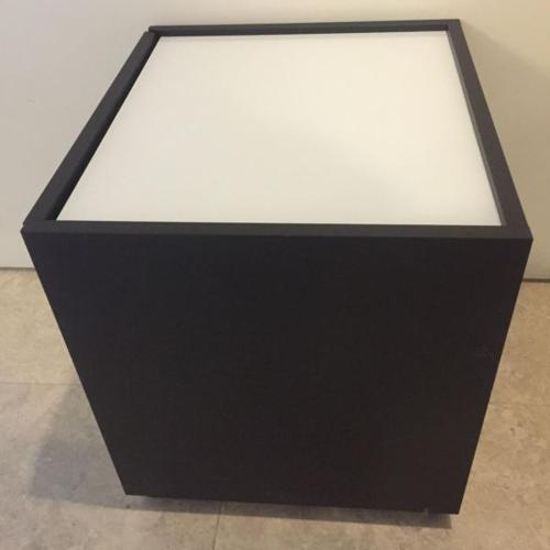 IKEA cube table in black brown with white glass top