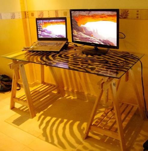 Ikea desk glass + trestles