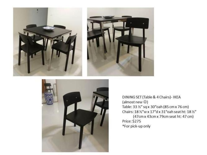 IKEA dining table and 4 dining chairs