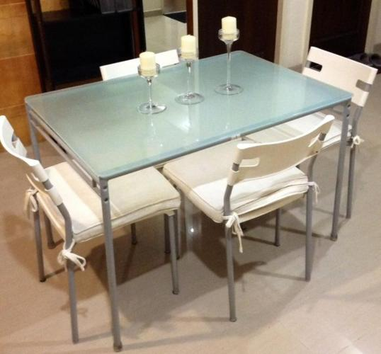 IKEA FROSTED GLASS TABLE COMPLETE SET