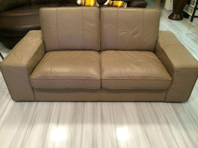 Ikea Kivik two-seater leather sofa - grann beige for Sale in ...